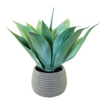 Agave in pot, artificial 45cm Color: green/grey