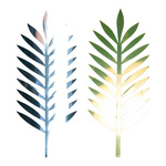 Palm leaf, cut out one side gold & one side silver,...