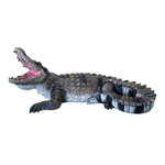 Crocodile lying, head-up, made of artificial resin L:...