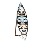 Surfboard with »tiki«-print, foldable, made of wood...
