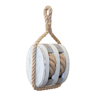 Pulley for decoration to hang, made of wood H: 30cm Color: white
