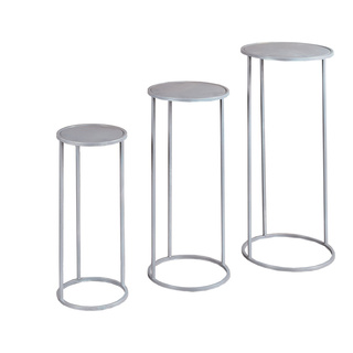 Metal tables round, set of 3, powder coated 1. 22x22x50cm, 2. 27x27x60cm, 3. 32x32x70cm Color: silver
