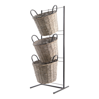 Metal rack with 3 baskets 116cm Color: grey