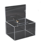 Acrylic raffle box lockable, with poster slide-in...
