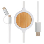 3-in-1 Kabel mit 5W Bambus Wireless Charger Farbe: weiß