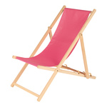 deck chair made of wood and polyester 138x56cm Color: pink