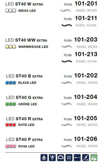 LED ST 40 B = blau  Kabelfarbe: weiß   Lichterkette --> Led Pro 230V