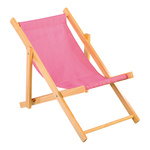 Deck chair wood, cotton 26x18cm Color: pink