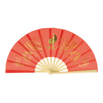 Fan Chinese motifs, synthetic, wood 62x33cm Color: red/gold