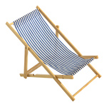 Deck chair striped, wood, cotton 25x52cm Color: white/blue