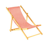 Deck chair striped, wood, cotton 25x52cm Color: white/red
