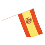 Flag on wooden pole artificial silk 30x45cm Color: Spain