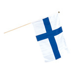 Flag on wooden pole artificial silk 30x45cm Color: Finland