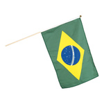 Flag on wooden pole artificial silk 30x45cm Color: Brazil
