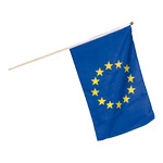 Flag on wooden pole artificial silk 30x45cm Color: Europe
