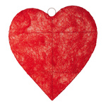 Heart flat, wire, sisal Ø 30cm Color: red