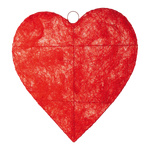 Heart flat, wire, sisal Ø 60cm Color: red