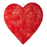 Heart flat, wire, sisal Ø 120cm Color: red