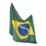 Flag artificial silk, with eyelets 90x150cm Color: Brazil