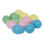 Eggs, assorted 12-fold, plastic 45x65mm Color: multicoloured