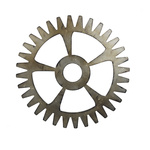 Gearwheel wood, metal optic Ø 50cm Color: gold/brown