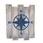 Panel with compass wood 40x50cm Color: white/blue